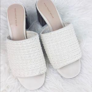 WWW 9 Cream Macrame Sandal Felicity Block Heel